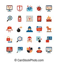 Flat Design Hacker Icons