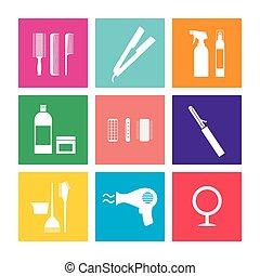 Flat Design Hairdressing Icons Set. - Flat Design...