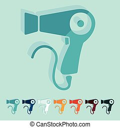Flat design: hairdryer