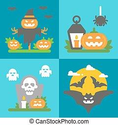 Flat design Halloween decor set
