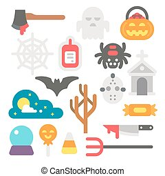 Flat design Halloween items set