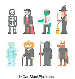 Flat design Halloween people set