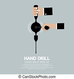 Flat Design Hand Drill Vector Illustration
