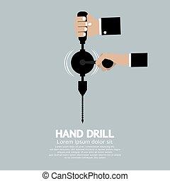 Flat Design Hand Drill Vector Illustration