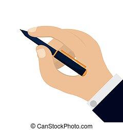 hand holding elegant pen icon