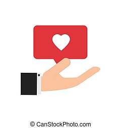 hand holding heart notification icon