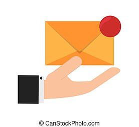 hand holding message envelope and icon
