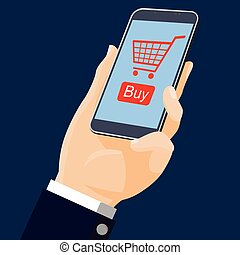 Flat design-hand holding mobile with online shopping-vector illustration