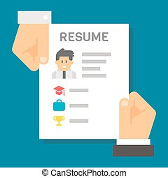 Flat design hand holding resume for interview illustration...