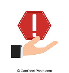 hand holding warning sign icon