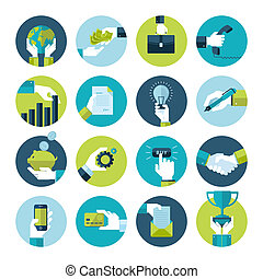 Flat design hand icons in business - Flat design icons...