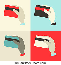 Flat Design Hands with Credit Cards Vector Illustration Set