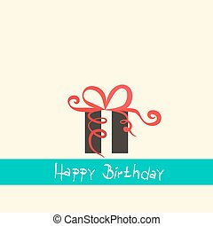 Flat Design Happy Birthday Retro Simple Vector Illustration with Gift Box