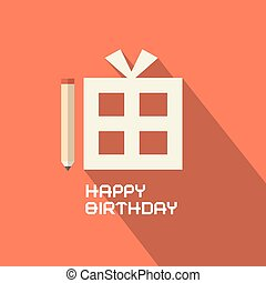 Flat Design Happy Birthday with Gift Box