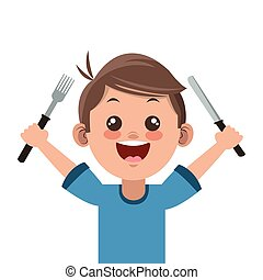 happy boy cartoon holding fork and knife icon
