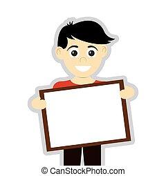 happy boy holding board icon