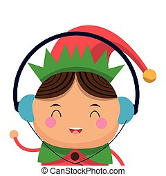 happy cute christmas elf listening to music icon