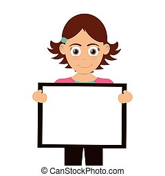 happy girl holding board icon