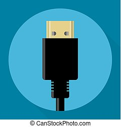 Flat design HDMI connectors vector icon - Flat design HDMI...