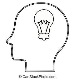 head profile with lightbulb icon