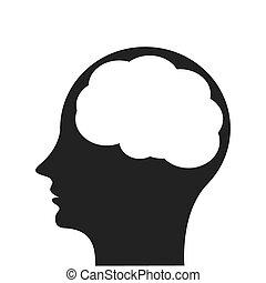 head profile witn brain icon - flat design head profile witn...