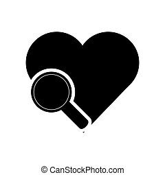 heart cartoon and magnifying glass icon