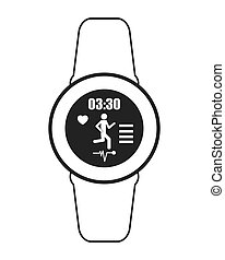 heartrate wrist tracker icon - flat design heartrate wrist...