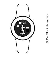 flat design heartrate wrist tracker icon vector illustration