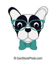 hipster french bulldog icon - flat design hipster french...