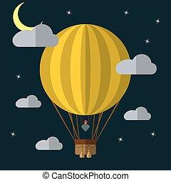 Flat design hot air balloon