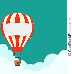 Flat design, Hot air balloon in the sky with cloud background