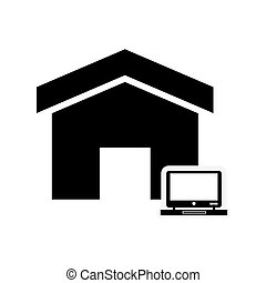 house and laptop icon