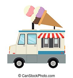 flat design ice cream truck icon vector illustration