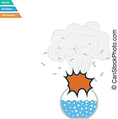 Flat design icon explosion of chemistry flask