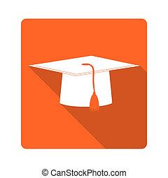 Flat design icon. Graduate hat