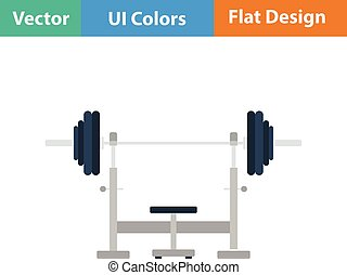 Flat design icon of Bench with barbell