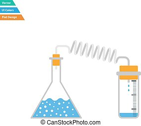 Flat design icon of chemistry reaction with two flask in ui ...