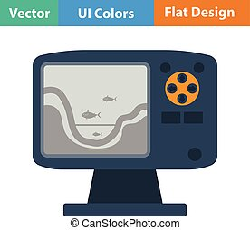 Flat design icon of echo sounder in ui colors. Vector...