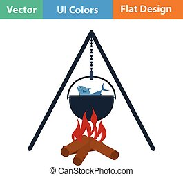 Flat design icon of fire and fishing pot
