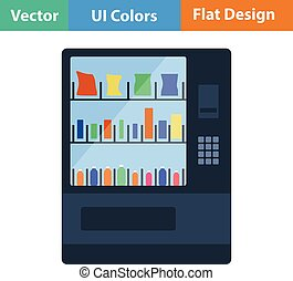 Flat design icon of Food selling machine - Food selling...