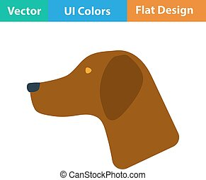 Flat design icon of hinting dog had