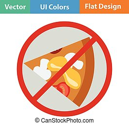 Flat design icon of Prohibited pizza