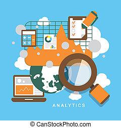 flat design icon set of website SEO optimization, programming process and web analytics elements
