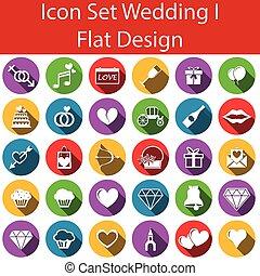 Flat Design Icon Set Wedding I