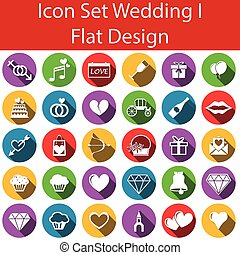 Flat Design Icon Set Wedding I