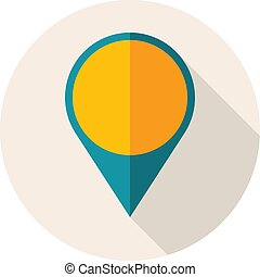 Flat Design Icon with Map Pin. Vector Illustration.
