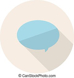 Flat Design Icon with Simple Speech Bubble. Vector Illustration.