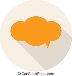 Flat Design Icon with Speech Bubble. Vector Illustration.