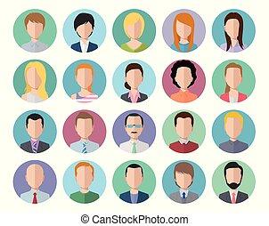 Flat design icons avatars illustration set