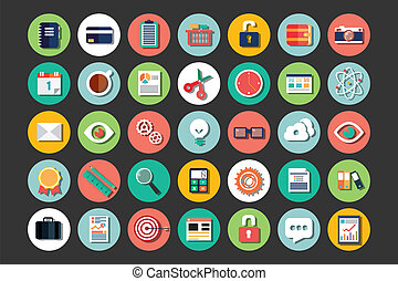 flat design icons, cloud computing